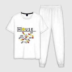 Пижама хлопковая мужская House M.D. Pills цвета белый — фото 1