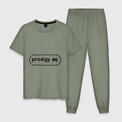 Пижама хлопковая мужская Prodigy лого с муравьем цвета авокадо — фото 1