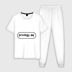 Пижама хлопковая мужская Prodigy лого с муравьем цвета белый — фото 1