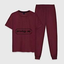 Пижама хлопковая мужская Prodigy лого с муравьем цвета меланж-бордовый — фото 1