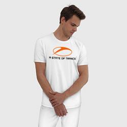Пижама хлопковая мужская A State of Trance цвета белый — фото 2