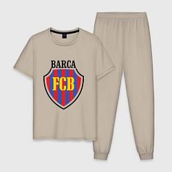 Пижама хлопковая мужская Barca FCB цвета миндальный — фото 1