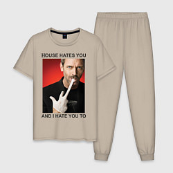 Пижама хлопковая мужская House Hates You цвета миндальный — фото 1