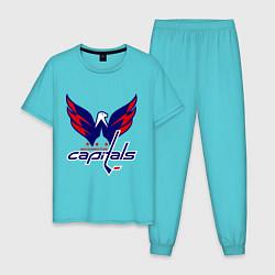 Пижама хлопковая мужская Washington Capitals: Ovechkin цвета бирюзовый — фото 1