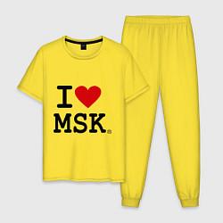 Пижама хлопковая мужская I love MSK цвета желтый — фото 1