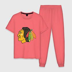 Пижама хлопковая мужская Chicago Blackhawks цвета коралловый — фото 1