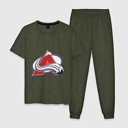 Пижама хлопковая мужская Colorado Avelanche: Sakic цвета меланж-хаки — фото 1