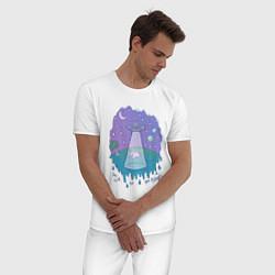 Пижама хлопковая мужская Alien цвета белый — фото 2