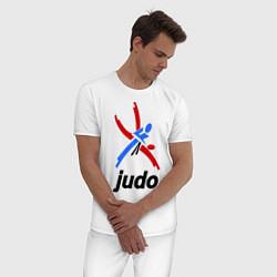 Пижама хлопковая мужская Judo Emblem цвета белый — фото 2