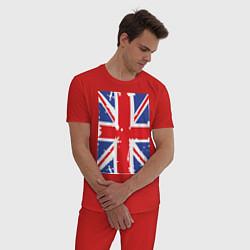 Пижама хлопковая мужская Британский флаг цвета красный — фото 2