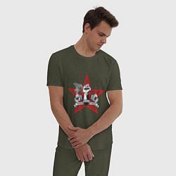 Пижама хлопковая мужская World freedom famous цвета меланж-хаки — фото 2