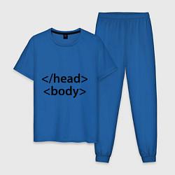 Пижама хлопковая мужская Head Body цвета синий — фото 1
