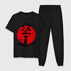 Пижама хлопковая мужская Kudo: Hieroglyph цвета черный — фото 1