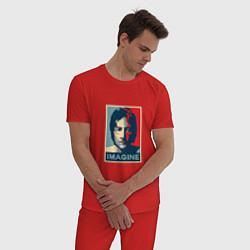 Пижама хлопковая мужская Lennon Imagine цвета красный — фото 2