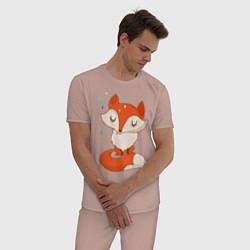 Пижама хлопковая мужская Лисичка цвета пыльно-розовый — фото 2