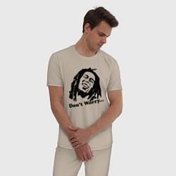 Пижама хлопковая мужская Bob Marley: Don't worry цвета миндальный — фото 2
