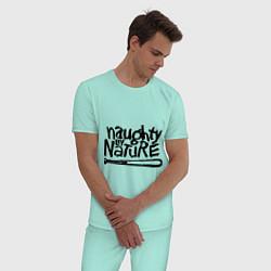 Пижама хлопковая мужская Naughty by nature цвета мятный — фото 2