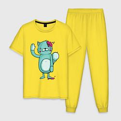 Пижама хлопковая мужская Drop dead цвета желтый — фото 1
