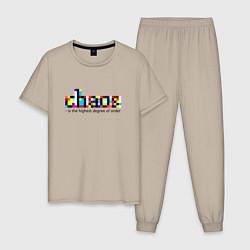 Пижама хлопковая мужская Хаос- высшая степень порядка цвета миндальный — фото 1