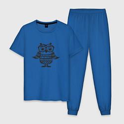 Пижама хлопковая мужская Сова в очках и свитере цвета синий — фото 1