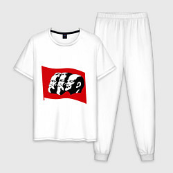 Пижама хлопковая мужская Маркс, Энгельс, Ленин цвета белый — фото 1