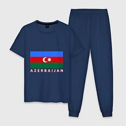 Пижама хлопковая мужская Азербайджан цвета тёмно-синий — фото 1