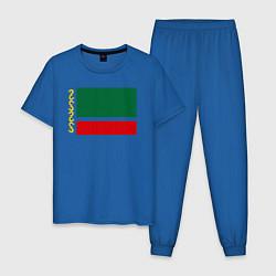 Пижама хлопковая мужская Чечня: флаг цвета синий — фото 1