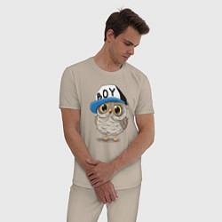 Пижама хлопковая мужская Совенок-мальчик цвета миндальный — фото 2