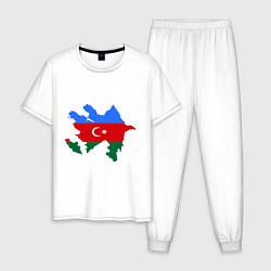Пижама хлопковая мужская Azerbaijan map цвета белый — фото 1