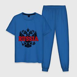 Пижама хлопковая мужская Russia Coat цвета синий — фото 1