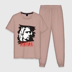 Пижама хлопковая мужская Nirvana: Kurt Cobain цвета пыльно-розовый — фото 1