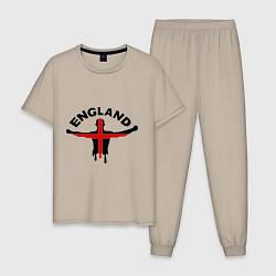 Пижама хлопковая мужская England Fans цвета миндальный — фото 1