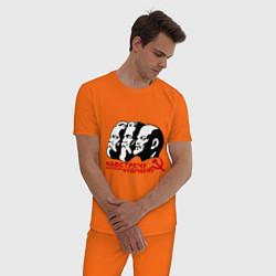 Пижама хлопковая мужская Навстречу будущему СССР цвета оранжевый — фото 2