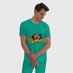 Пижама хлопковая мужская Wu - Massacre цвета зеленый — фото 2