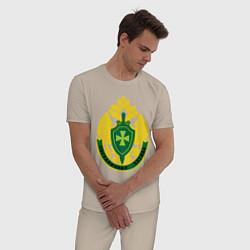 Пижама хлопковая мужская Пограничная служба цвета миндальный — фото 2