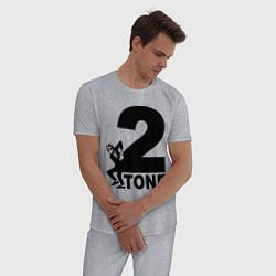 Пижама хлопковая мужская 2tone цвета меланж — фото 2