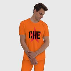 Пижама хлопковая мужская Че Гевара - звезда цвета оранжевый — фото 2