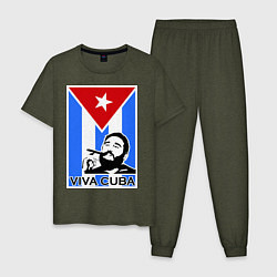 Пижама хлопковая мужская Fidel: Viva, Cuba! цвета меланж-хаки — фото 1