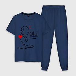 Пижама хлопковая мужская Oh: Forever цвета тёмно-синий — фото 1