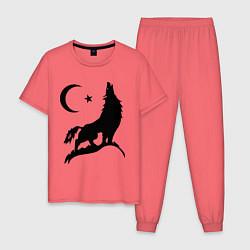 Пижама хлопковая мужская Кавказский волк цвета коралловый — фото 1
