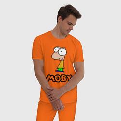 Пижама хлопковая мужская Moby цвета оранжевый — фото 2