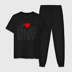 Пижама хлопковая мужская Dubstep love цвета черный — фото 1