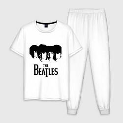 Пижама хлопковая мужская The Beatles: Faces цвета белый — фото 1
