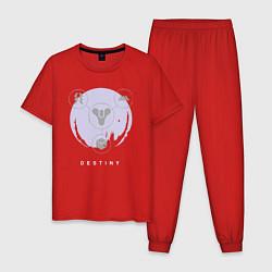 Пижама хлопковая мужская Destiny Planet цвета красный — фото 1