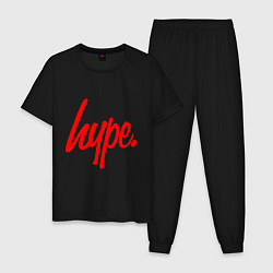 Пижама хлопковая мужская Hype Red цвета черный — фото 1