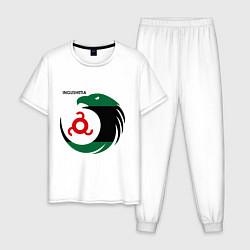 Пижама хлопковая мужская Ingushetia Eagle цвета белый — фото 1