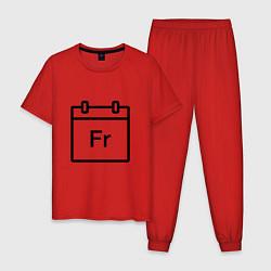 Пижама хлопковая мужская Фублока Fr цвета красный — фото 1