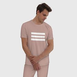 Пижама хлопковая мужская XXIII ORIGINAL цвета пыльно-розовый — фото 2