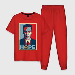 Пижама хлопковая мужская G-Man Hope цвета красный — фото 1