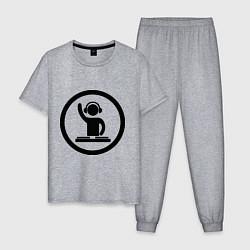 Пижама хлопковая мужская Dj за пультом цвета меланж — фото 1